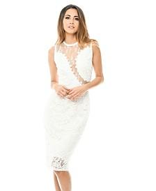 AX Paris Sleeveless Lace Mesh Bodycon Midi Dress