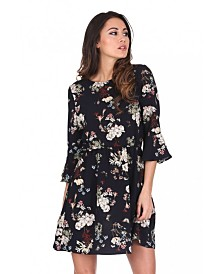 AX Paris Floral Print Frill Sleeve Dress