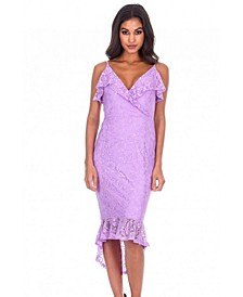 Lace Fishtail Hem Bodycon Dress