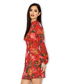 AX Paris Floral Long Sleeve Frill Dress