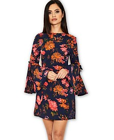 AX Paris Floral Dress with Statement Sleeves