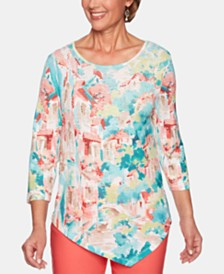 Alfred Dunner Coastal Drive Abstract-Print Top