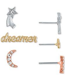 RACHEL Rachel Roy Tri-Tone 3-Pc. Set Night-Inspired Stud Earrings