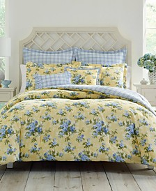 Laura Ashley Cassidy Pastel Yellow Comforter Set, Full/Queen