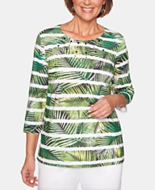 Alfred Dunner Cayman Islands Studded Palm-Print Striped Top