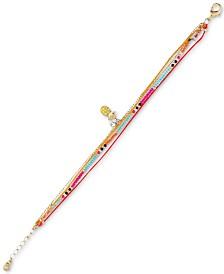 RACHEL Rachel Roy Gold-Tone Bead Layer Pineapple Charm Bracelet