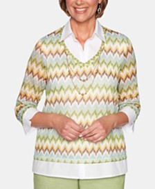 Alfred Dunner Santa Fe Knit Chevron Sweater