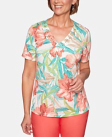 Alfred Dunner Coastal Drive Tropical Floral-Print Top