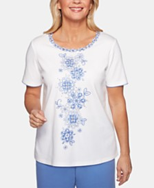 Alfred Dunner Petite The Summer Wind Embellished Floral Top