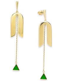 kate spade new york Gold-Tone Green Stone Linear Pendulum Earrings