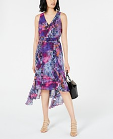 Bar III Printed Handkerchief-Hem Sleeveless Dress, Created for Macy's