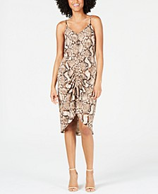 Petite Ruched Snake-Embossed Dress