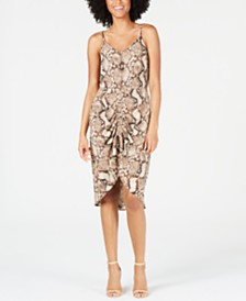 Monteau Petite Ruched Snake-Embossed Dress