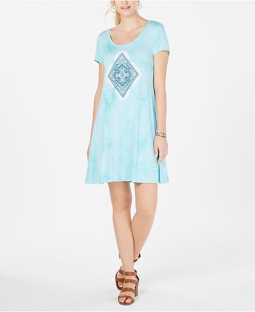 Style & Co Graphic Scoop-Neck T-Shirt Dress, Created for Macy's