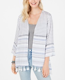 Style & Co Striped Tassel-Hem Kimono, Created for Macy's