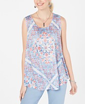 0634ddd58dc Style & Co Printed Scoop-Neck Swing Top, Created for Macy's