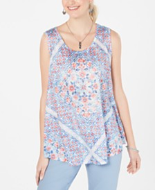 Style & Co Printed Scoop-Neck Swing Top, Created for Macy's