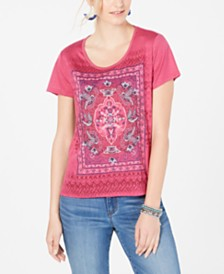 Style & Co Petite Graphic Scoop-Neck T-Shirt, Created for Macy's