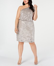 Adrianna Papell Plus Size One-Shoulder Sequined Sheath Dress