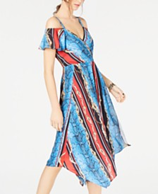 I.N.C. Cold-Shoulder Surplice Dress, Created for Macy's