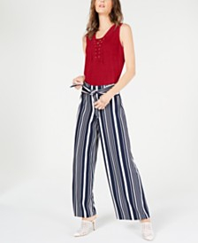 I.N.C. Petite Lace-Up Top, Created for Macy's