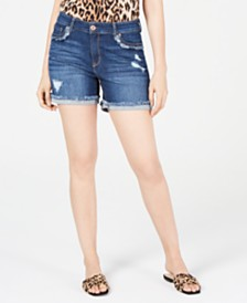 I.N.C. Destructed Curvy-Fit Jean Shorts, Created for Macy's