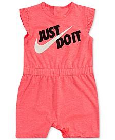 Nike Baby Girls Logo-Print Flutter-Sleeve Romper