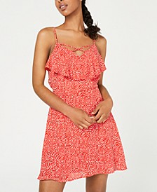 Juniors' Printed Popover Ruffle Dress