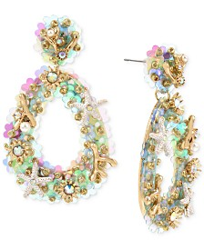 Betsey Johnson Gold-Tone Sea-Life Teardrop Drop Earrings