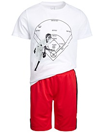Toddler Boys Graphic T-Shirt & Mesh Inset Shorts Separates, Created for Macy's