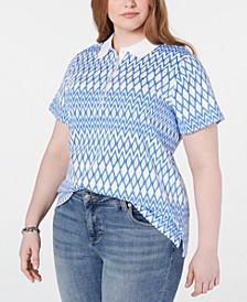 Plus Size Cotton Diamond-Print Polo Top, Created for Macy's