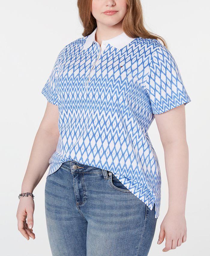 Tommy Hilfiger - Plus Size Cotton Diamond-Print Polo Top