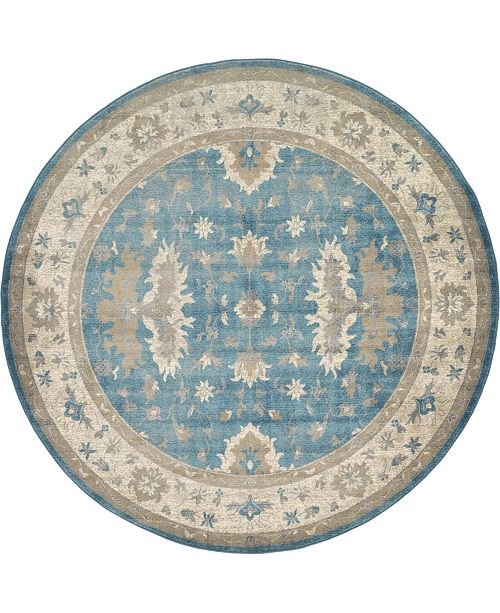 Bridgeport Home Bellmere Bel5 Light Blue 8' x 8' Round Area Rug