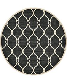 Bridgeport Home Arbor Arb6 Black 8' x 8' Round Area Rug