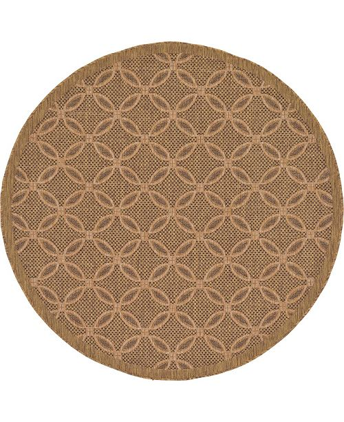 Bridgeport Home Pashio Pas6 Light Brown 6' x 6' Round Area Rug