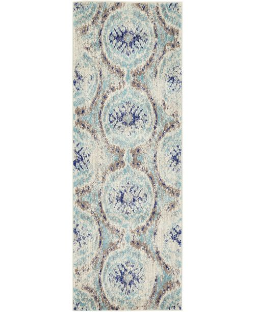 "Bridgeport Home Wisdom Wis5 Blue 2' 2"" x 6' Runner Area Rug"