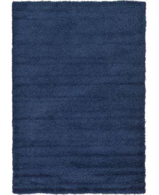 Exact Shag Exs1 Navy Blue 6' x 9' Area Rug