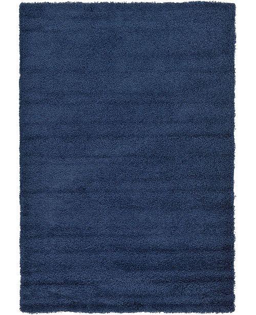 Bridgeport Home Exact Shag Exs1 Navy Blue 6' x 9' Area Rug