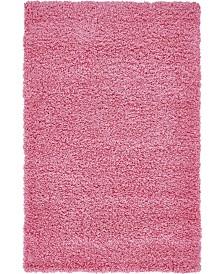 "Bridgeport Home Exact Shag Exs1 Taffy Pink 3' 3"" x 5' 3"" Area Rug"
