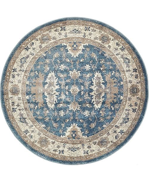 Bridgeport Home Bellmere Bel5 Light Blue 4' x 4' Round Area Rug