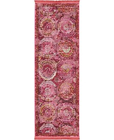 "Kenna Ken4 Pink 2' 2"" x 6' Runner Area Rug"