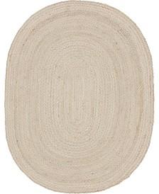 Bridgeport Home Roari Cotton Braids Rcb1 Ivory 8' x 10' Oval Area Rug