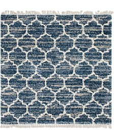 Bridgeport Home Lochcort Shag Loc1 Blue 8' x 8' Square Area Rug