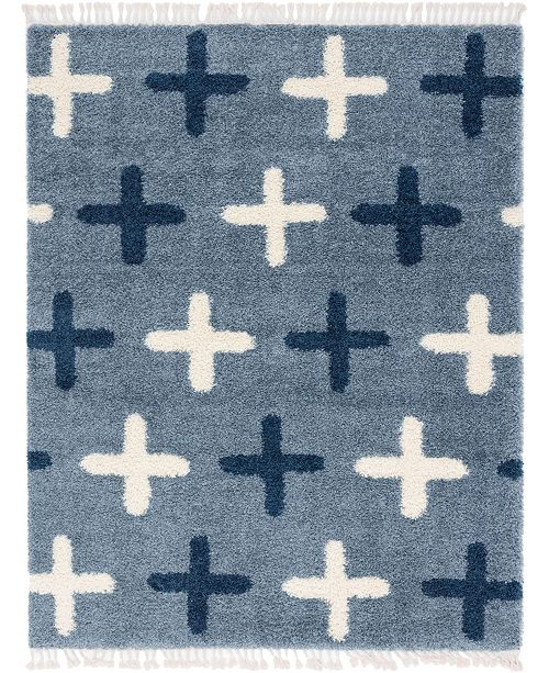 Bridgeport Home Lochcort Shag Loc7 Blue 8' x 10' Area Rug