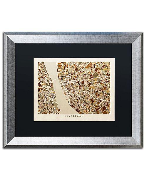 """Trademark Global Michael Tompsett 'Liverpool England Street Map 3' Matted Framed Art - 16"""" x 20"""""""