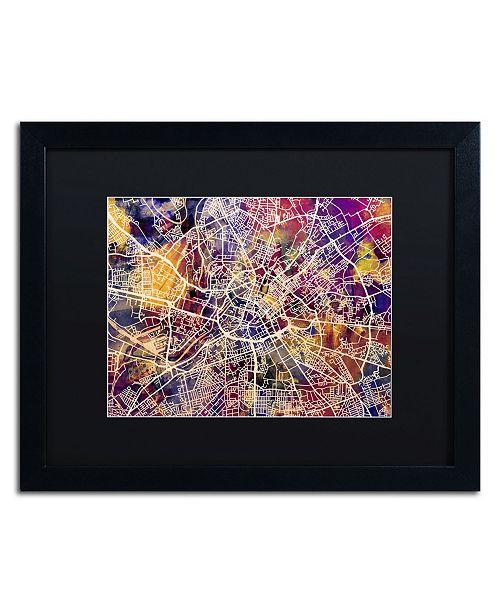 """Trademark Global Michael Tompsett 'Manchester Street Map' Matted Framed Art - 16"""" x 20"""""""