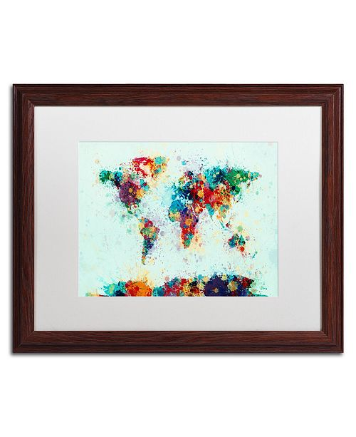 "Trademark Global Michael Tompsett 'World Map Paint Splashes' Matted Framed Art - 16"" x 20"""