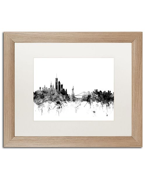 """Trademark Global Michael Tompsett 'New York Skyline B&W' Matted Framed Art - 16"""" x 20"""""""
