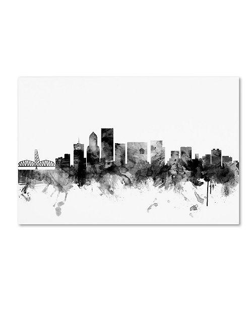 "Trademark Global Michael Tompsett 'Portland Oregon Skyline B&W' Canvas Art - 16"" x 24"""