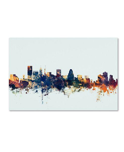 "Trademark Global Michael Tompsett 'Baltimore MD Skyline Blue' Canvas Art - 16"" x 24"""